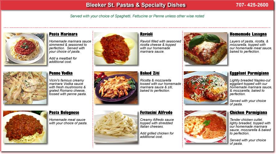 Italian restaurant italian food pizza delivery italian menus - Italian cuisine menu list ...